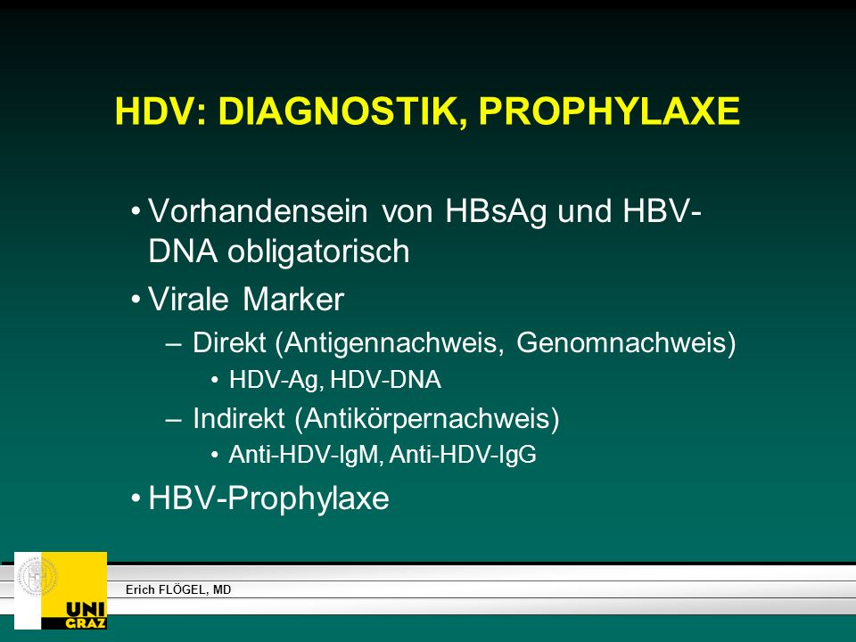 HDV: DIAGNOSTIK, PROPHYLAXE