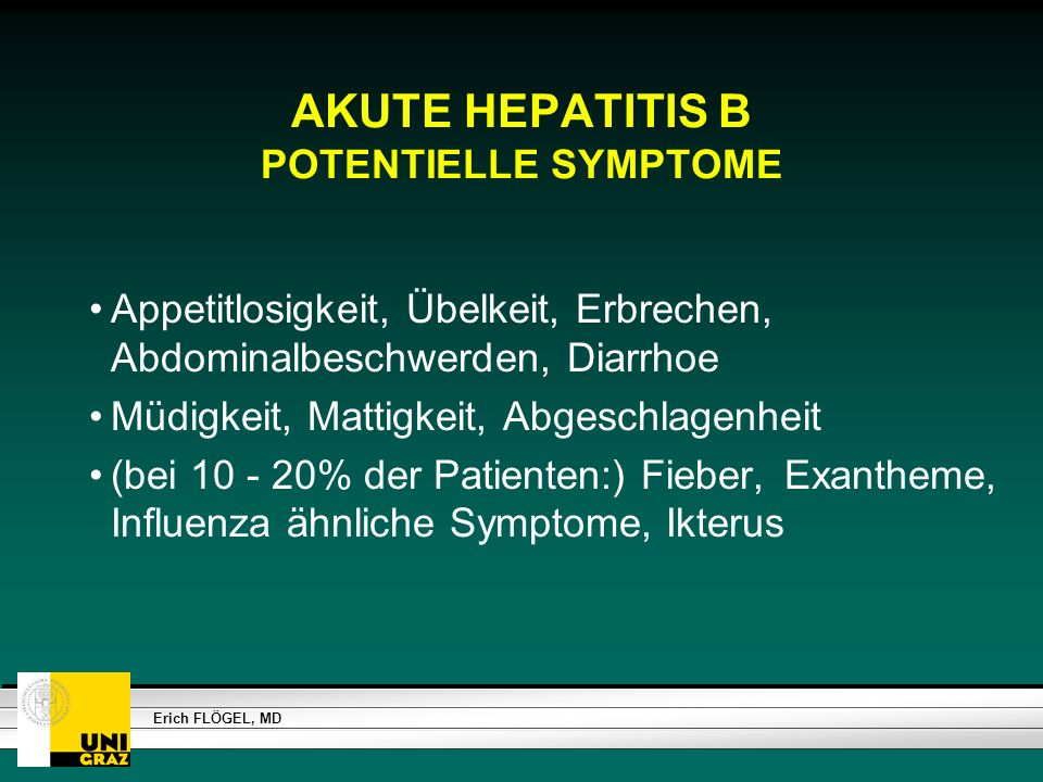 AKUTE HEPATITIS B POTENTIELLE SYMPTOME