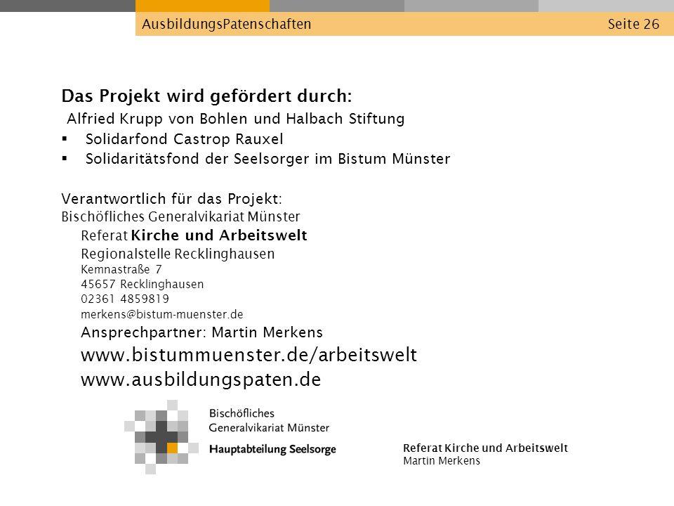 www.bistummuenster.de/arbeitswelt www.ausbildungspaten.de