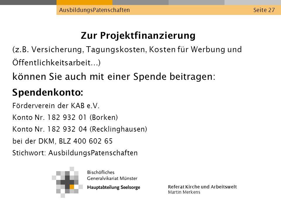 Zur Projektfinanzierung