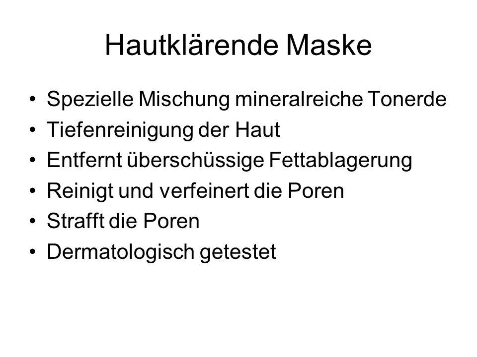 Hautklärende Maske Spezielle Mischung mineralreiche Tonerde