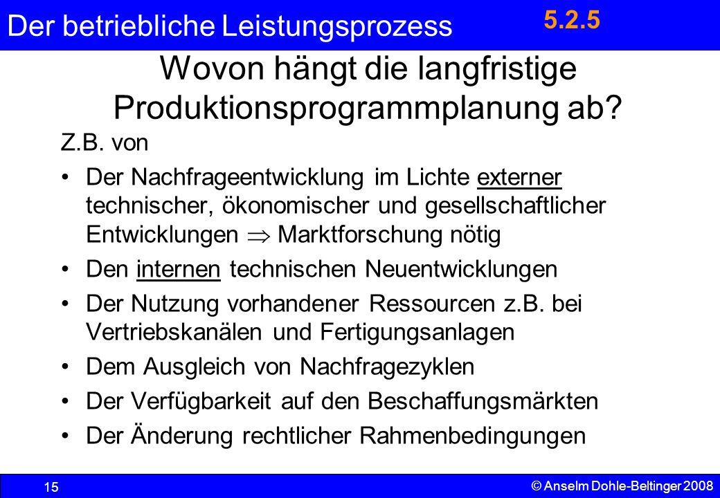 Wovon hängt die langfristige Produktionsprogrammplanung ab