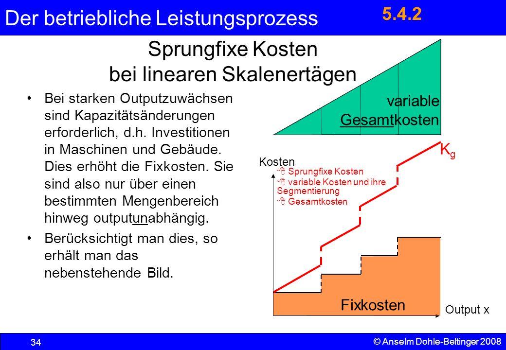 Sprungfixe Kosten bei linearen Skalenertägen