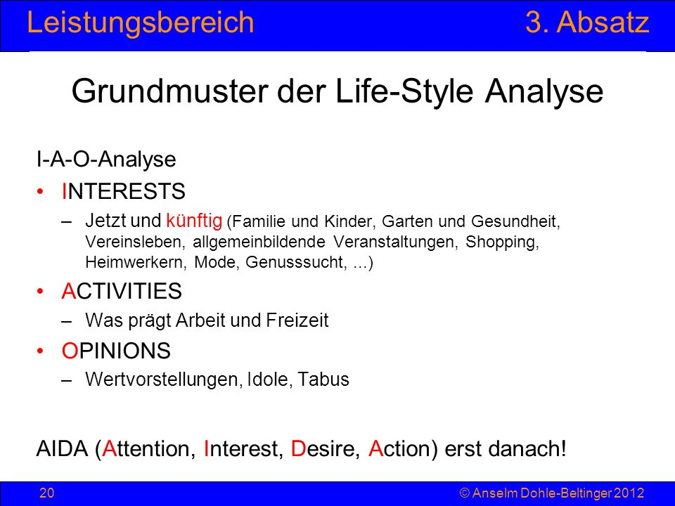 Grundmuster der Life-Style Analyse