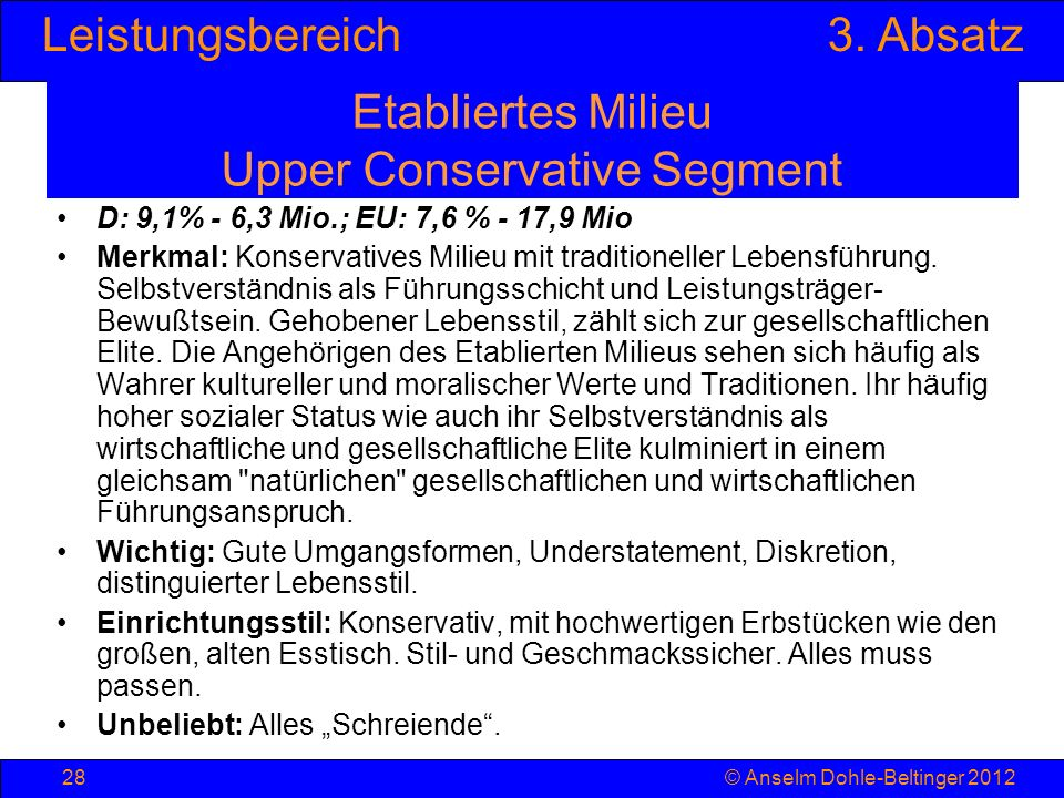 Etabliertes Milieu Upper Conservative Segment