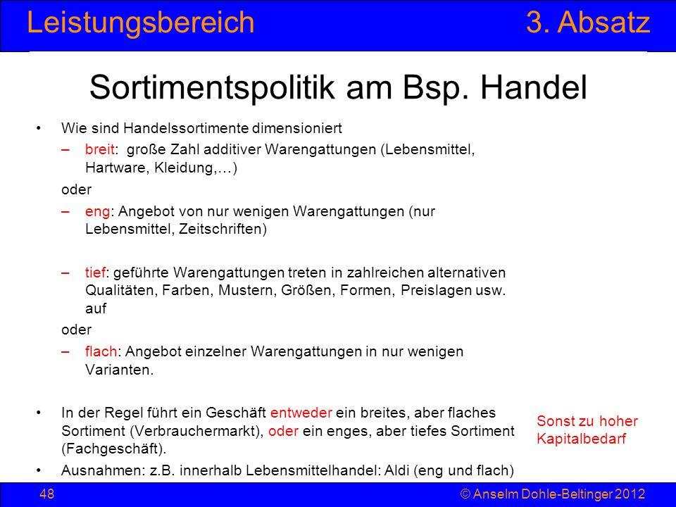 Sortimentspolitik am Bsp. Handel
