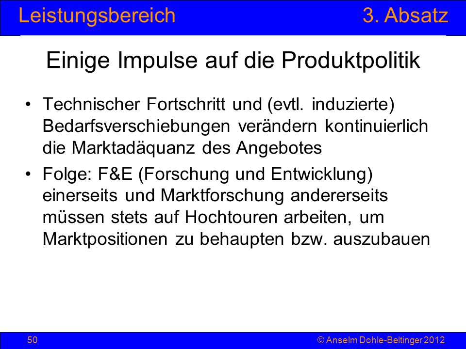 Einige Impulse auf die Produktpolitik