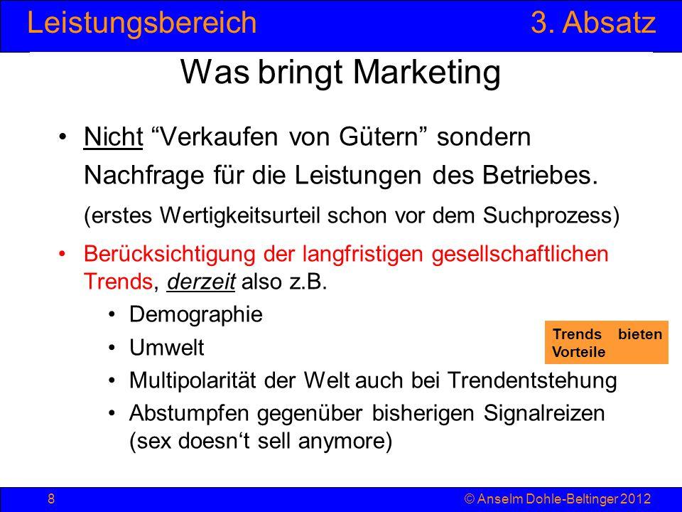 Was bringt Marketing Nicht Verkaufen von Gütern sondern