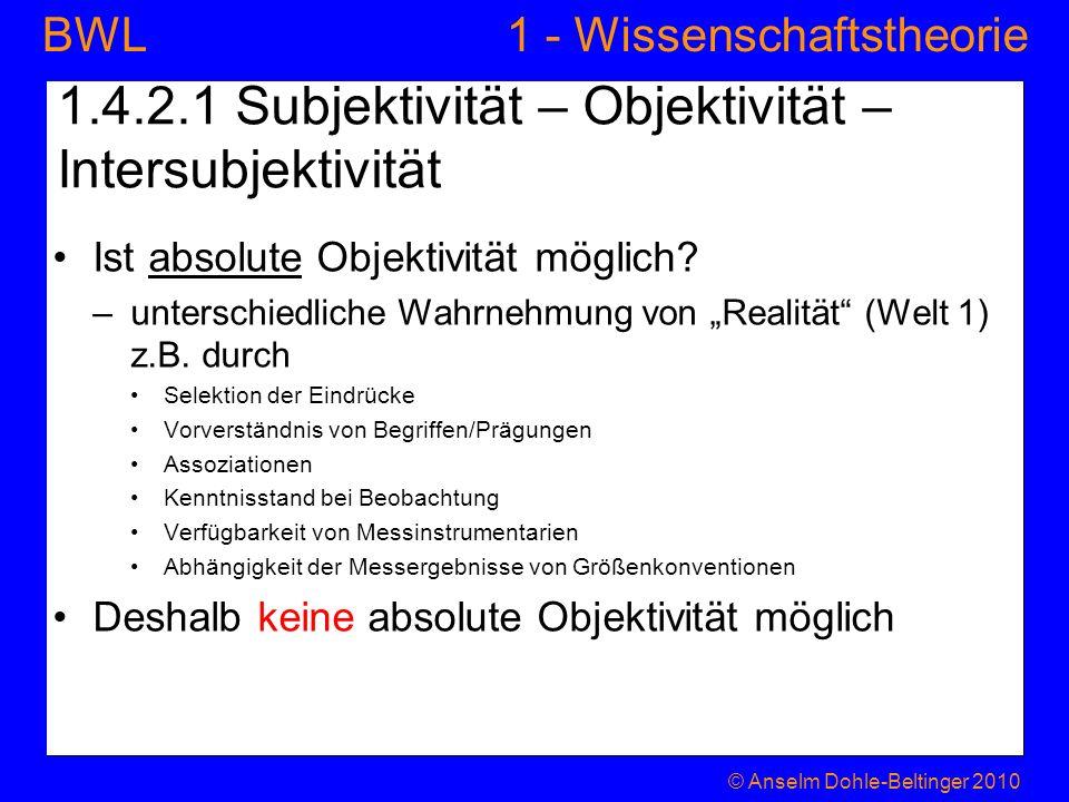 1.4.2.1 Subjektivität – Objektivität – Intersubjektivität
