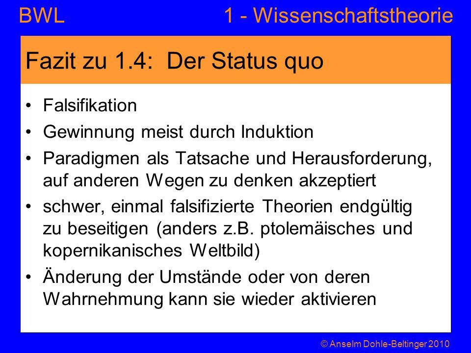 Fazit zu 1.4: Der Status quo