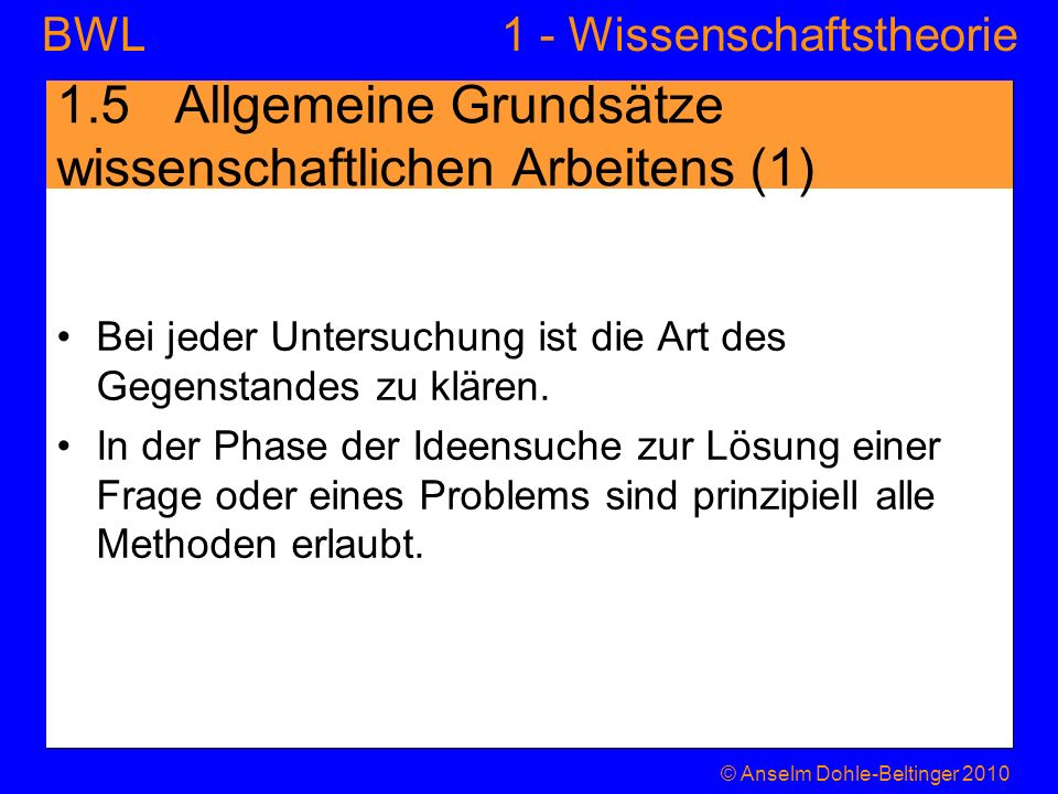 1.5 Allgemeine Grundsätze wissenschaftlichen Arbeitens (1)