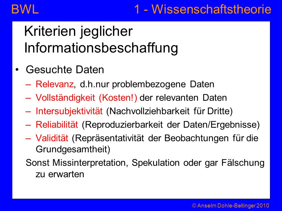 Kriterien jeglicher Informationsbeschaffung