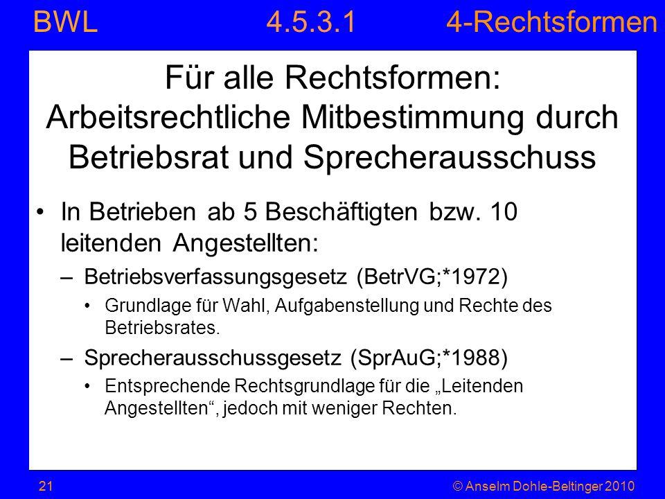 4.5.3.1 Für alle Rechtsformen: Arbeitsrechtliche Mitbestimmung durch Betriebsrat und Sprecherausschuss.