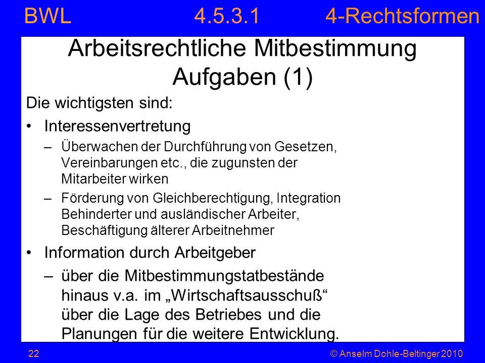 Arbeitsrechtliche Mitbestimmung Aufgaben (1)