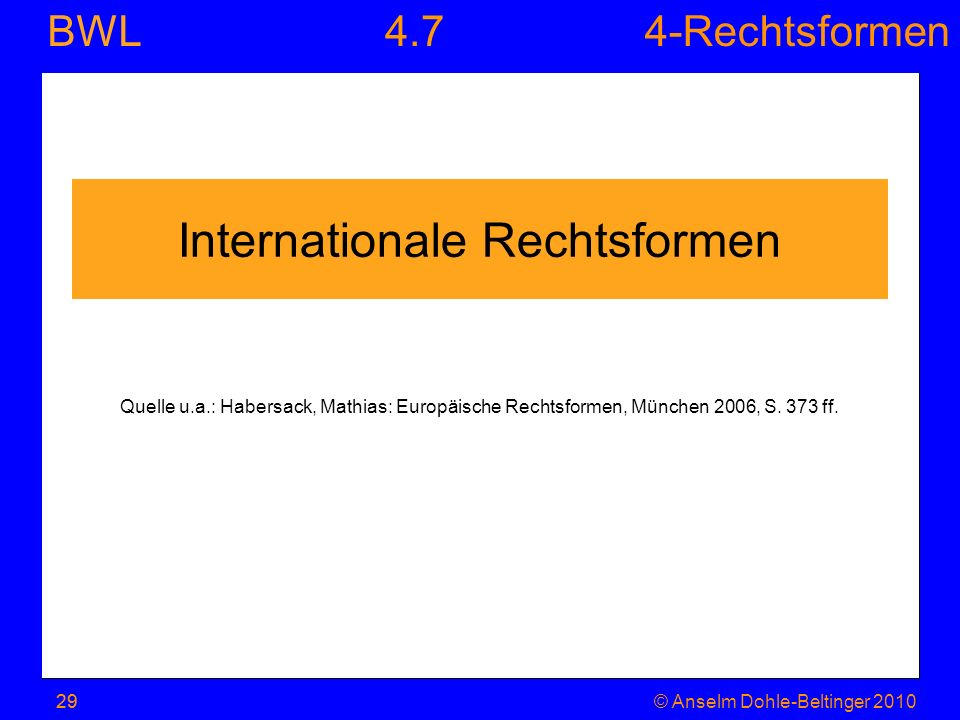 Internationale Rechtsformen