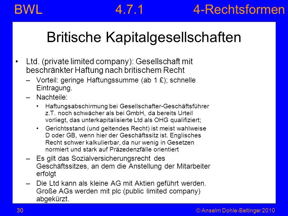 Britische Kapitalgesellschaften