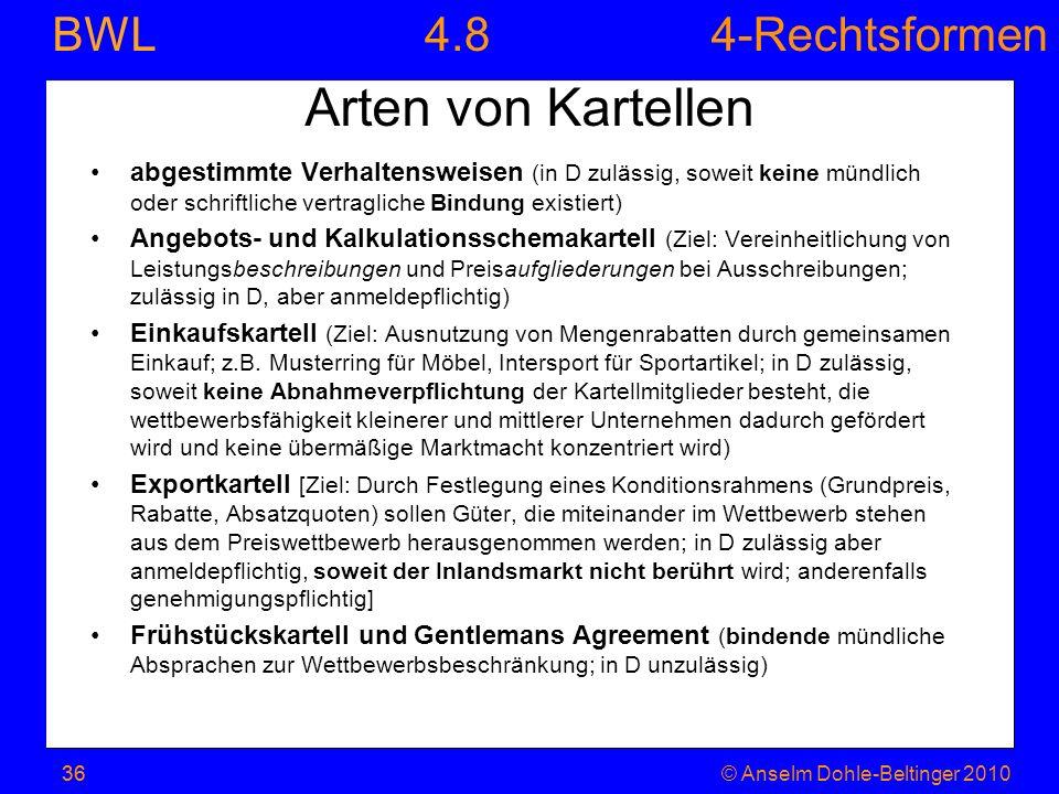 4.8 Arten von Kartellen. abgestimmte Verhaltensweisen (in D zulässig, soweit keine mündlich oder schriftliche vertragliche Bindung existiert)