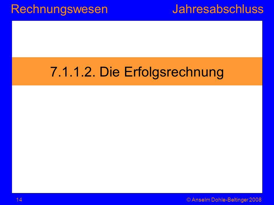 7.1.1.2. Die Erfolgsrechnung © Anselm Dohle-Beltinger 2008