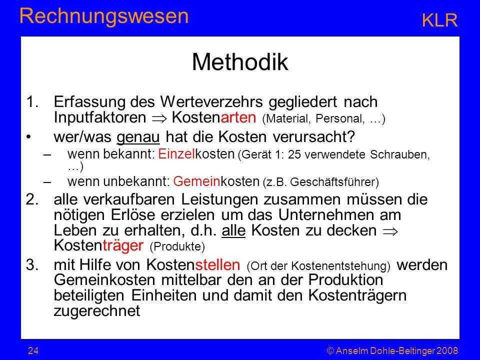 KLRMethodik. Erfassung des Werteverzehrs gegliedert nach Inputfaktoren  Kostenarten (Material, Personal, …)