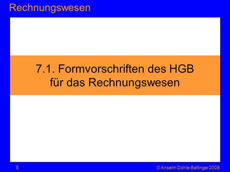 7.1. Formvorschriften des HGB für das Rechnungswesen