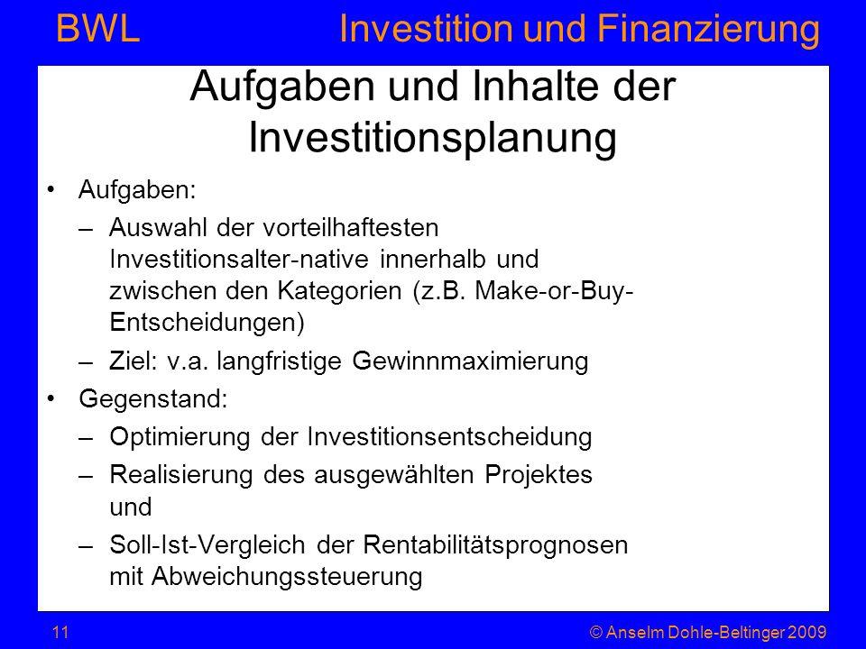 Aufgaben und Inhalte der Investitionsplanung