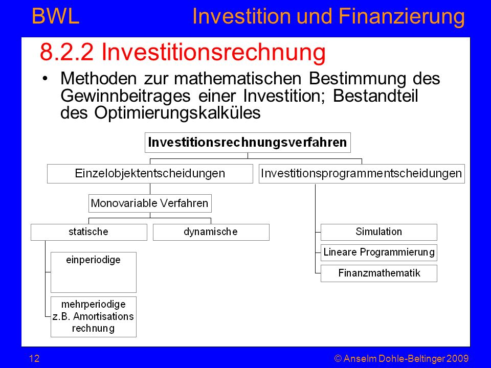 8.2.2 Investitionsrechnung