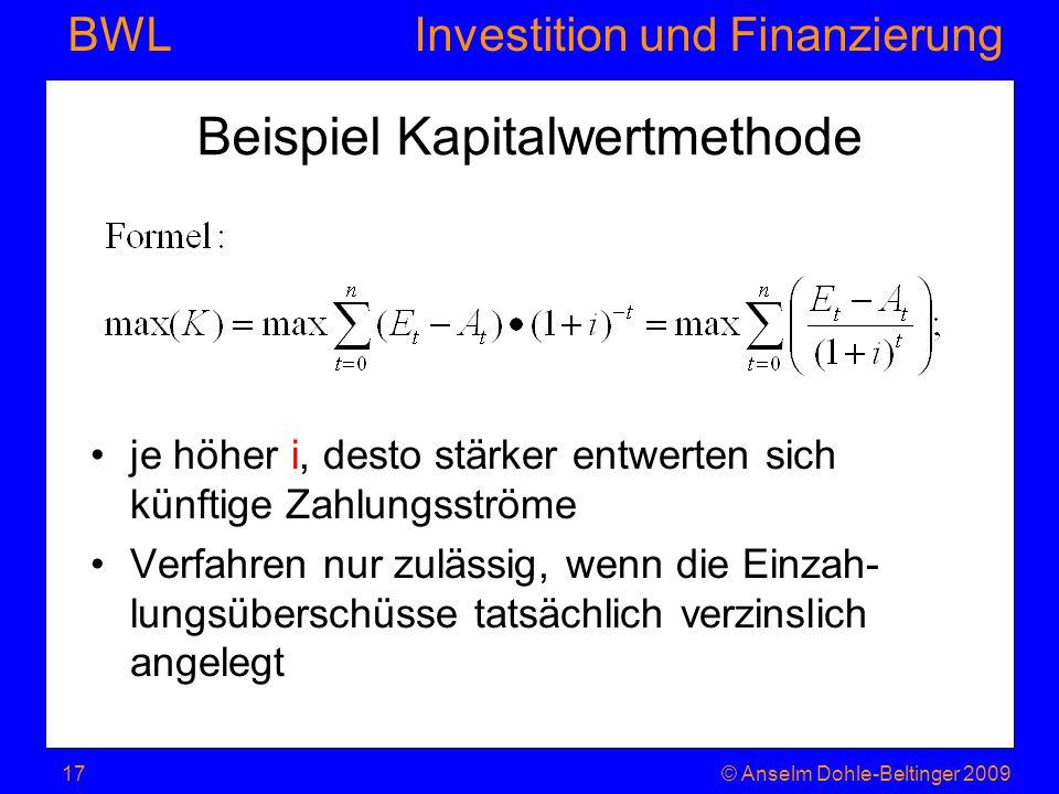Beispiel Kapitalwertmethode