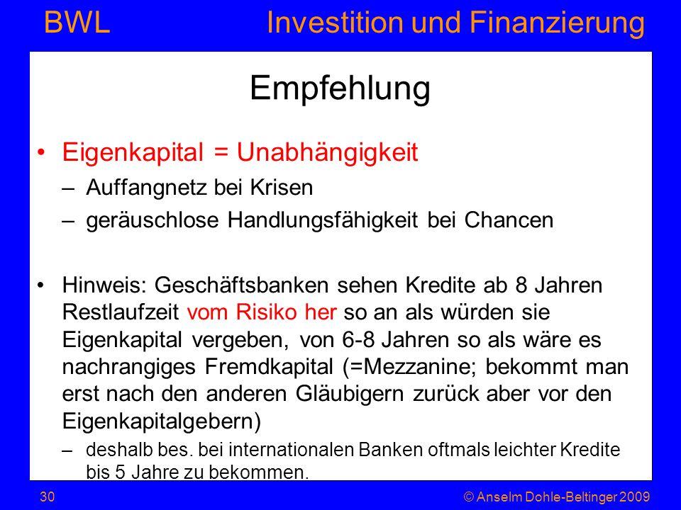 Empfehlung Eigenkapital = Unabhängigkeit Auffangnetz bei Krisen