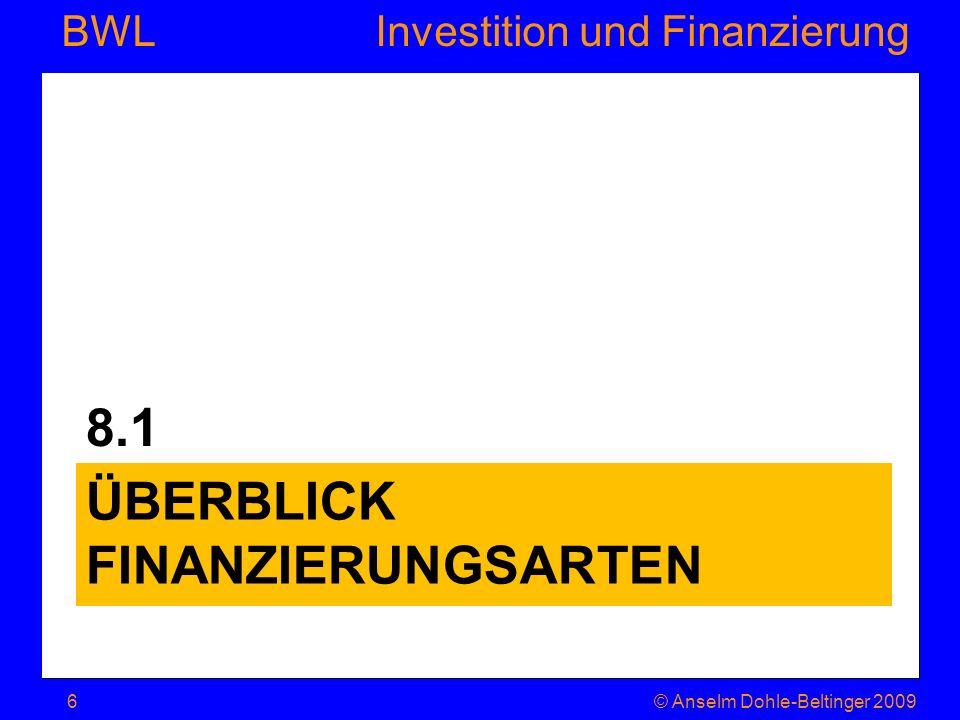 Überblick Finanzierungsarten