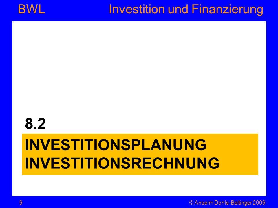 Investitionsplanung Investitionsrechnung