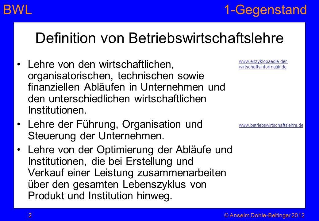 Definition von Betriebswirtschaftslehre