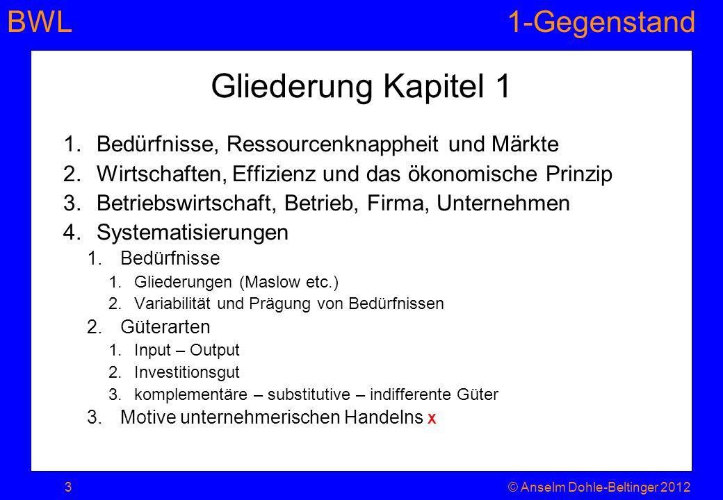 Gliederung Kapitel 1 Bedürfnisse, Ressourcenknappheit und Märkte