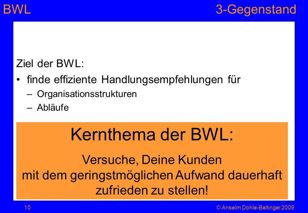 Ziel der BWL: finde effiziente Handlungsempfehlungen für. Organisationsstrukturen. Abläufe. Kernthema der BWL: