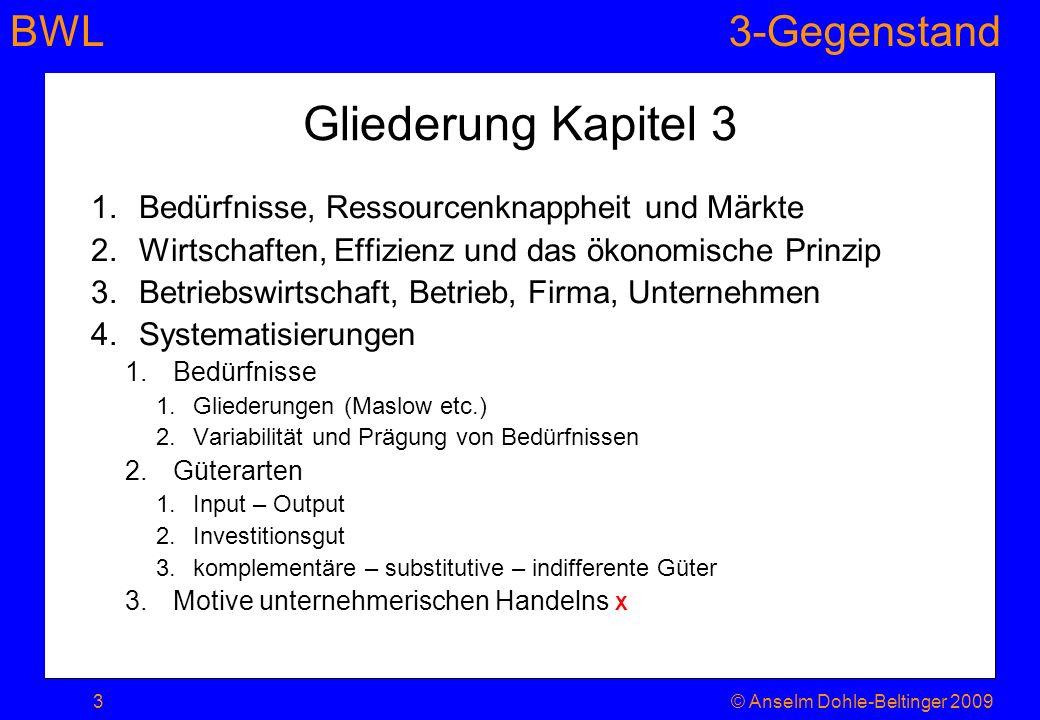 Gliederung Kapitel 3 Bedürfnisse, Ressourcenknappheit und Märkte