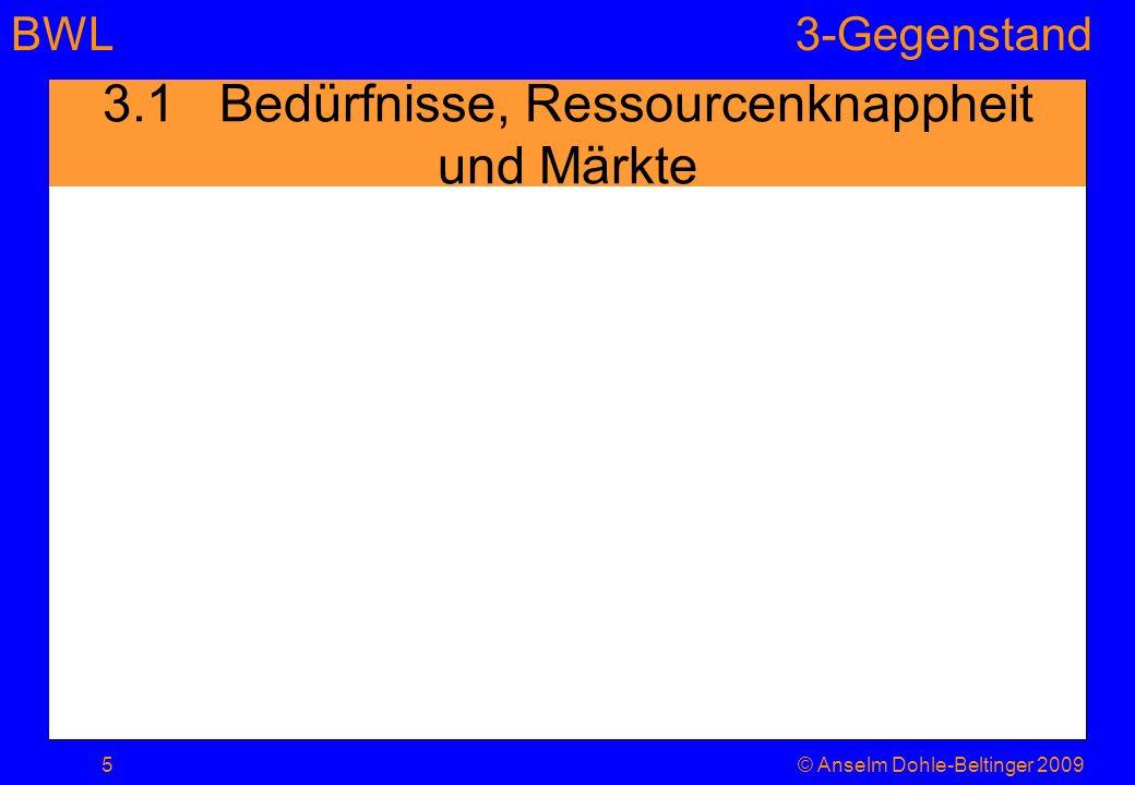 3.1 Bedürfnisse, Ressourcenknappheit und Märkte