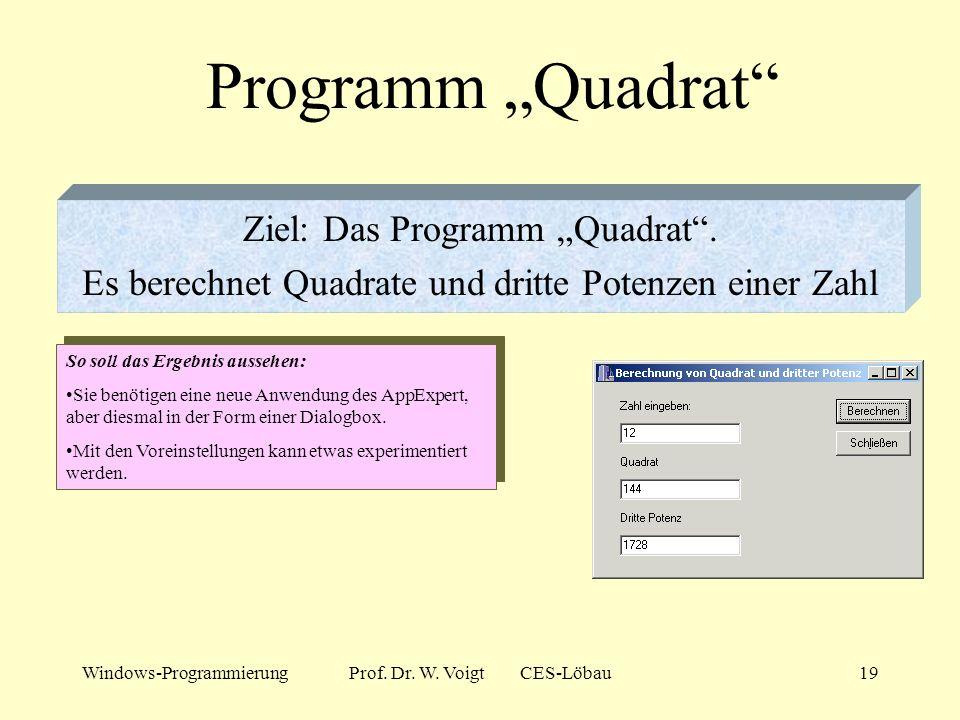 """Programm """"Quadrat Ziel: Das Programm """"Quadrat ."""