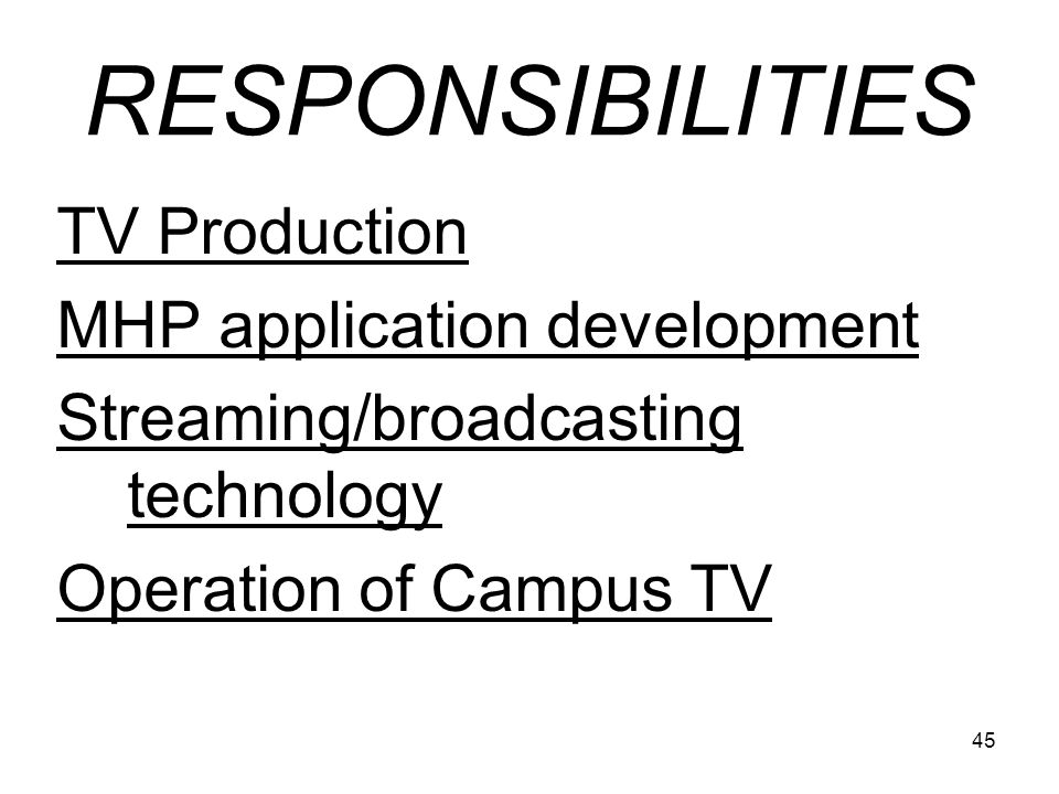 RESPONSIBILITIES TV Production MHP application development
