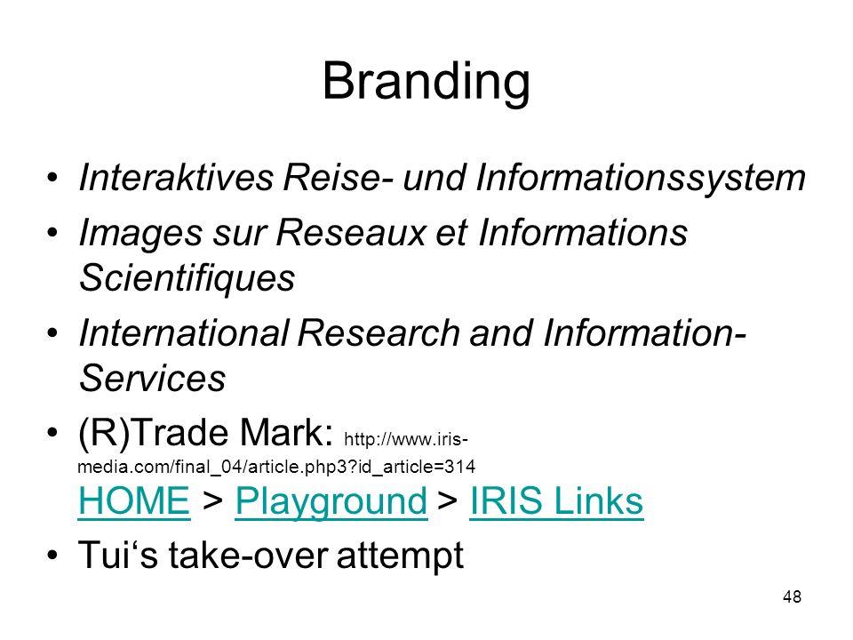 Branding Interaktives Reise- und Informationssystem
