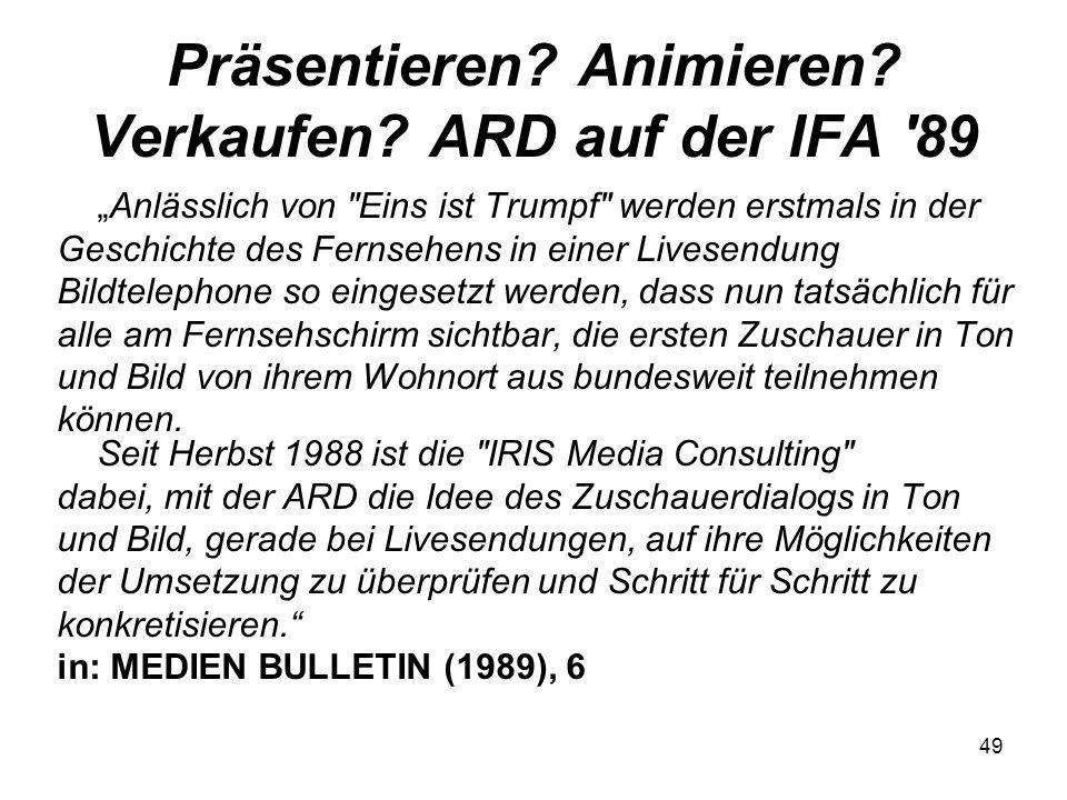 Präsentieren Animieren Verkaufen ARD auf der IFA 89