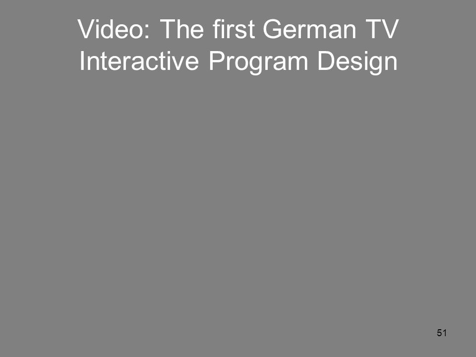 Video: The first German TV Interactive Program Design