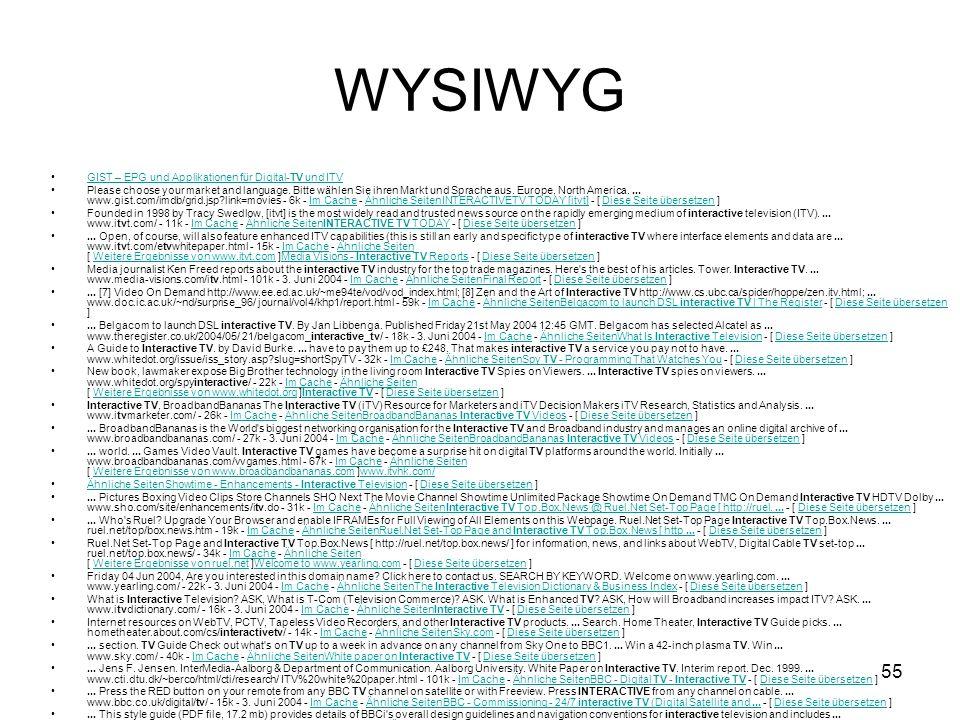 WYSIWYG GIST – EPG und Applikationen für Digital-TV und ITV