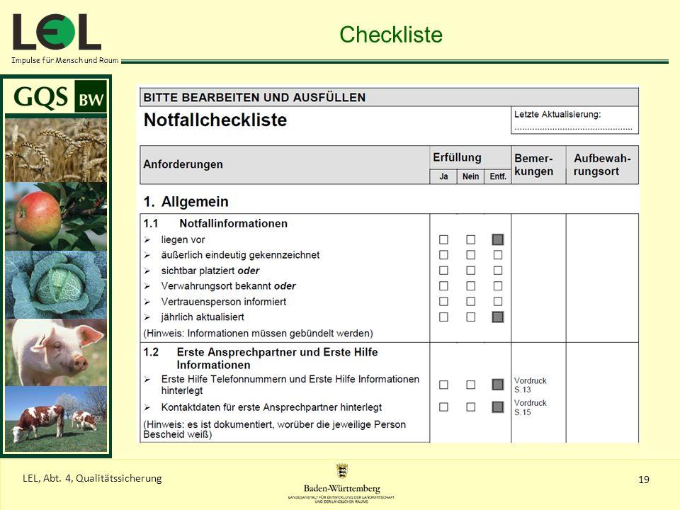 Checkliste Checklistensystematik Notfallhandbuch