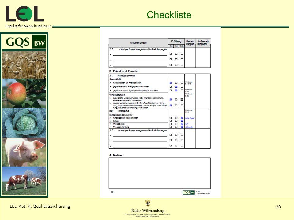 Checkliste LEL, Abt. 4, Qualitätssicherung