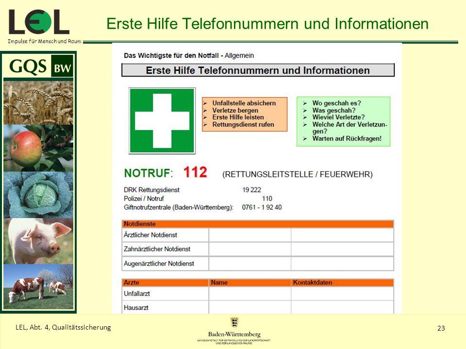 Erste Hilfe Telefonnummern und Informationen