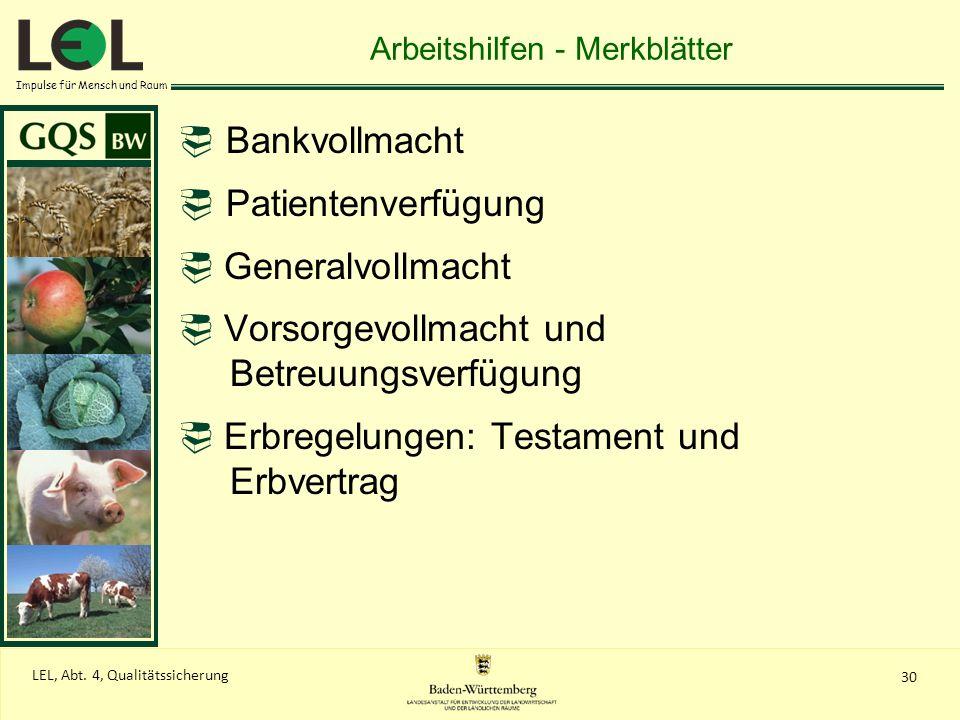 Arbeitshilfen - Merkblätter