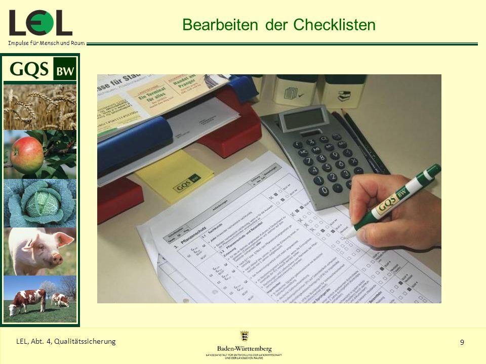 Bearbeiten der Checklisten
