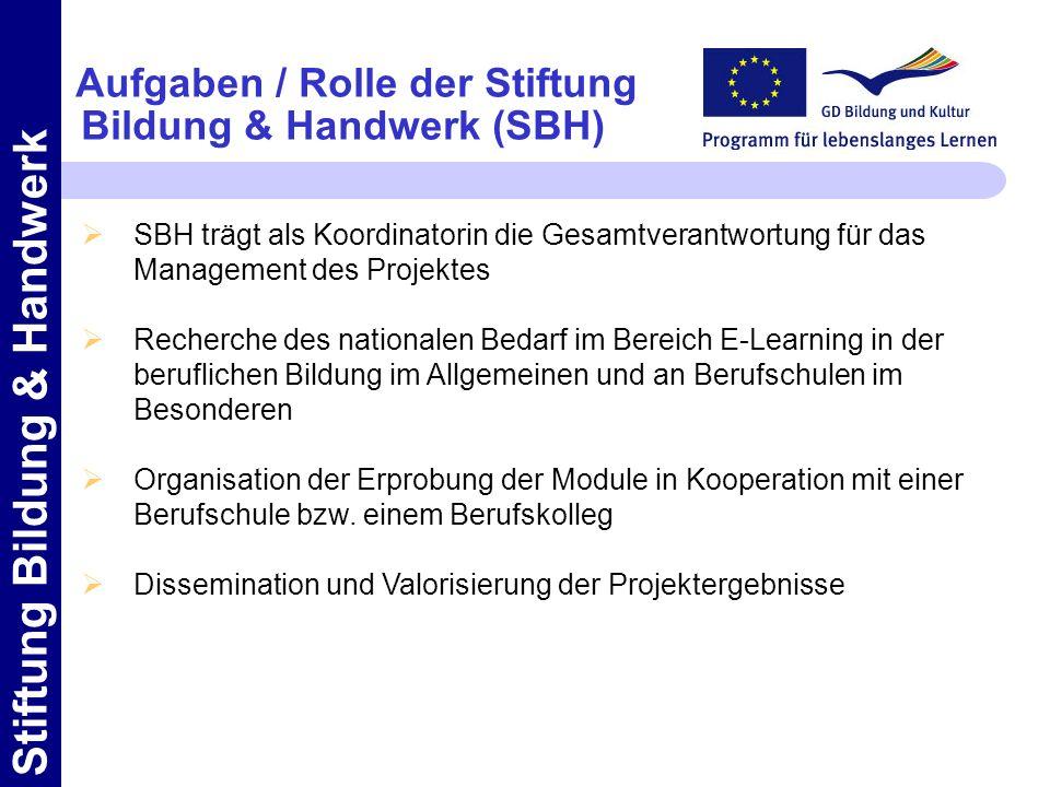 Aufgaben / Rolle der Stiftung Bildung & Handwerk (SBH)