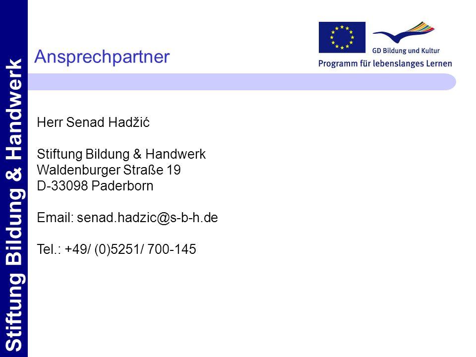 Ansprechpartner Herr Senad Hadžić Stiftung Bildung & Handwerk
