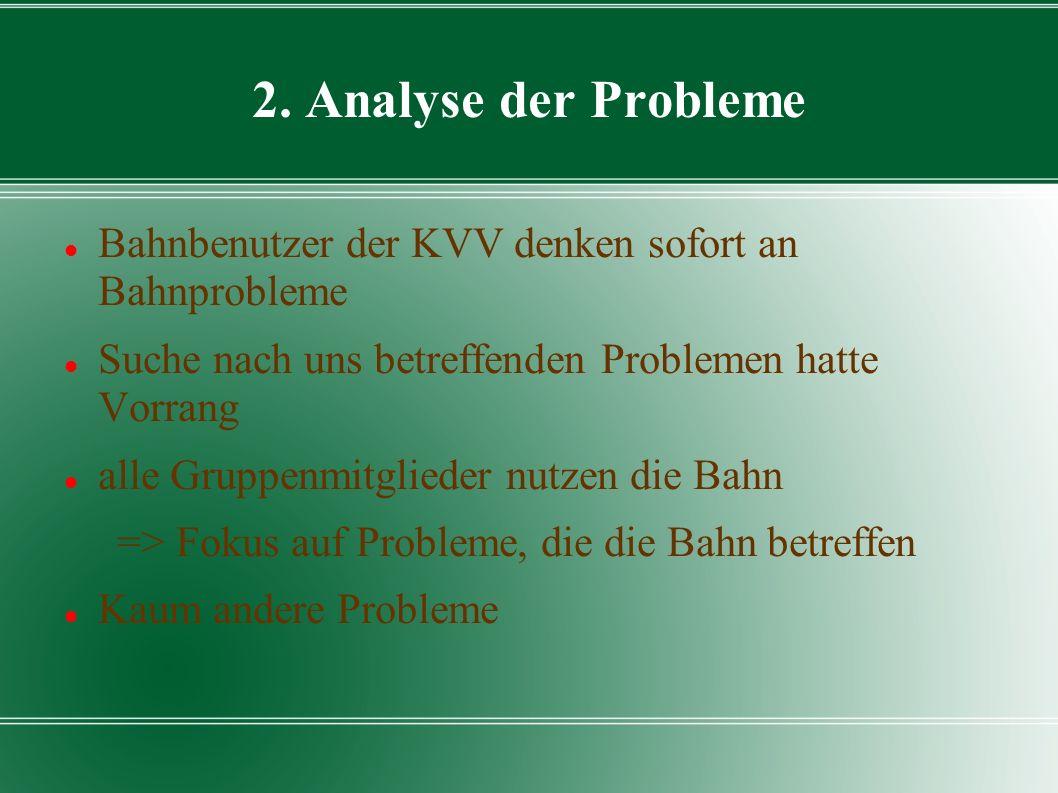 2. Analyse der Probleme Bahnbenutzer der KVV denken sofort an Bahnprobleme. Suche nach uns betreffenden Problemen hatte Vorrang.