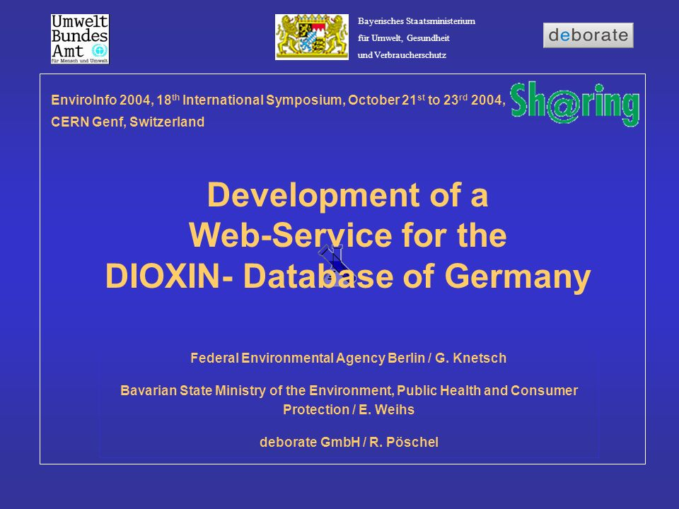 Development of a Web-Service for the DIOXIN- Database of Germany